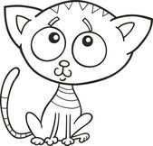 Cute kitten for coloring book — Stock Vector