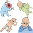 Stock Vector: Cute little babies