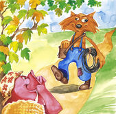 La sra. cerdo y fontanero fox — Foto de Stock