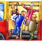 Naughty boys on bus stop — Stock Photo