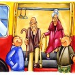 Kind boys on bus stop — Stock Photo