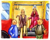 Kind boys on bus stop — Stock Photo