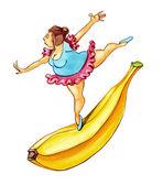 Obézní ženy tančí na banán — Stock fotografie