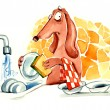 Stock Photo: Dog washing the dishes