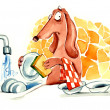 Dog washing the dishes — Stock Photo