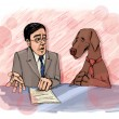 Interview with dog on television — Stock Photo