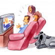 Family watching television and bored dog — Stock Photo