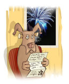 Dog and fireworks — Stock Photo
