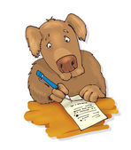 Dog writing a letter — Stock Photo