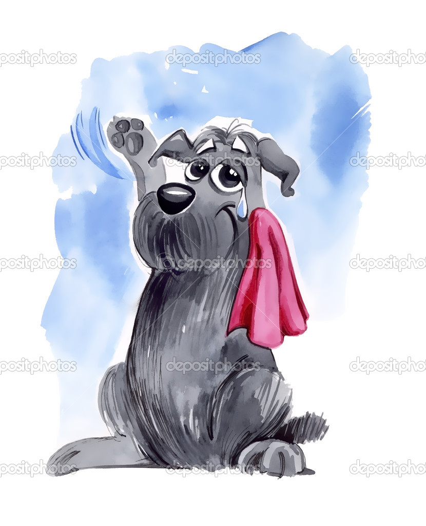 Humorous illustration of shaggy dog waving goodbye  Stock Photo #5354279