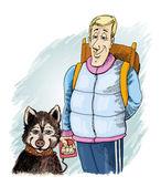 Husky hunden och hans ägare — Stockfoto