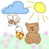 Bear and bee — Stock Photo