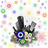 Grunge fireworka on city — Stock Photo