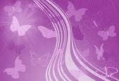 Purple waves and butterfly — Stock Photo