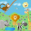 Stock Vector: Funny zoo