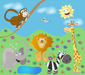 Funny zoo — Stock Vector