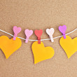 Hearts on the bulletin board — Stock Photo #3932592