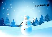 Snowman christmas card — Stock Photo