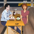 Restaurant date - Stock Photo