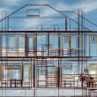 House model on beautiful sky background. Concept - eco house. — Stock Photo
