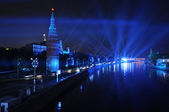 Kreml nábřeží v noci, moskva, rusko. — Stock fotografie