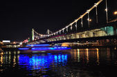 Crimean bridge at night. Moscow, Russia. — Stock Photo