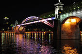 Andreevskiy Bridge at night. Moscow, Russia. — Stock Photo