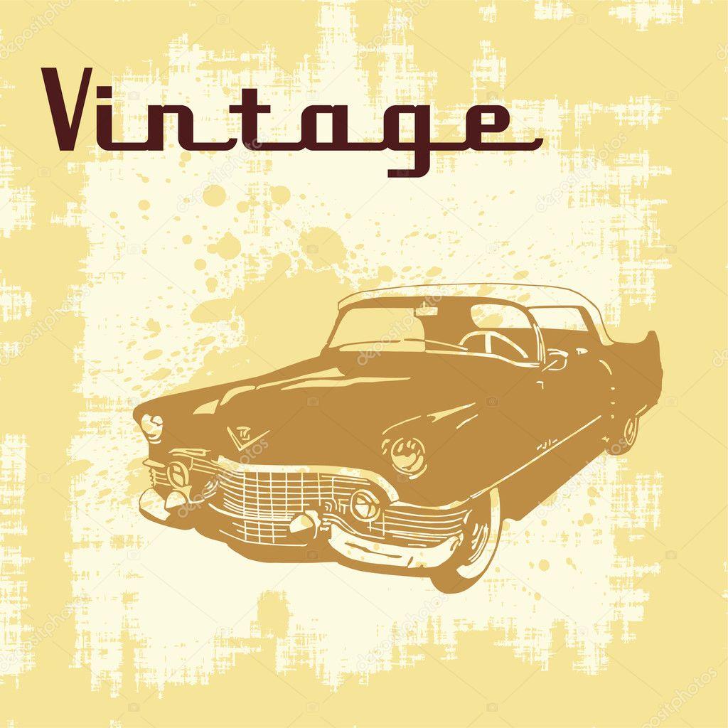of vintage car on grunge