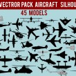 Stock Vector: Vector aircraft silhouettes pack
