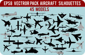 Vector aircraft silhouettes pack — Stock Vector