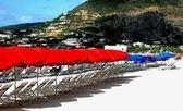 Caribbean parasols — Stock Photo