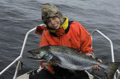 Great take(Lake salmon) — Stock Photo