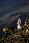 The girl at craters of Haleakala. — Stock Photo