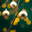 Christmas decoration in front of lights - Stock Photo