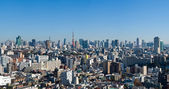 Blue sky panoramic view over downtown Tokyo — Stock Photo