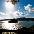 Lake view into the sun — Stock Photo