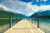 Jetty of a beautiful lake — Stok fotoğraf