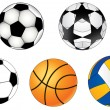 Sports balls: football, volleyball, basketball - Stock Vector
