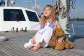 Cute girl on the yacht — Stock Photo