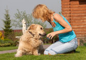 Woman plays with a dog — Stock Photo
