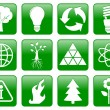 Green ecology icons — Stock Vector