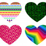 Hearts icon set — Stock Photo