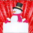 Snowman with banner — Stock Photo