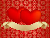 Two hearts with ribbon — Stock Photo