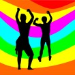 Dancing couple with rainbow — Stock Vector