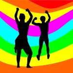 Dancing couple with rainbow — Stock Vector