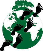 Ecological footprint of mankind on the planet — Stock Vector