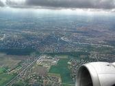 Panorama da praga da janela do avião — Foto Stock