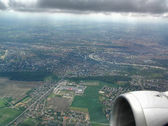 Panorama of the Prague from window of the airplane — Stock Photo