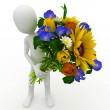 3d man with flowers — Stock Photo #3993723